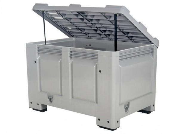 Strooizoutbak kunststof palletbox - 1200 x 800 mm - met deksel - op 4 poten