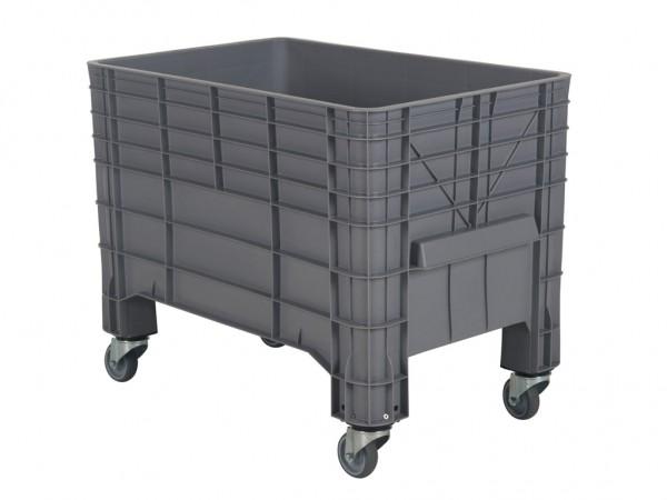 Kunststof palletbox - 1040x640xH668mm - met vier zwenkwielen - grijs