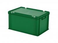 Stapelbak met deksel - 600x400xH335mm - groen 30.632.DB.8