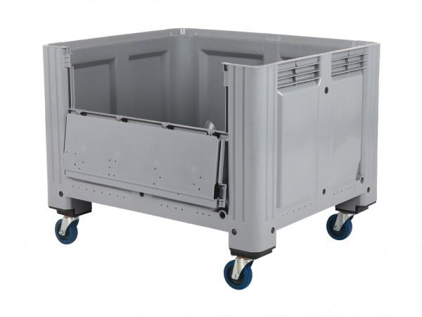 Palletbox - 1200x1000mm - op wielen - met klep - grijs