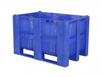 Kunststof palletbox - 1200x800xH740mm - 3 sledes - blauw 83381310