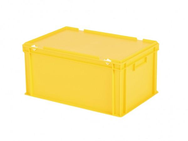 Stapelbak met deksel - 600x400xH295mm - geel