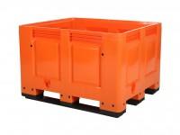 Kunststof palletbox - 1200x1000xH790mm - 3 sledes - oranje 4401.300.311