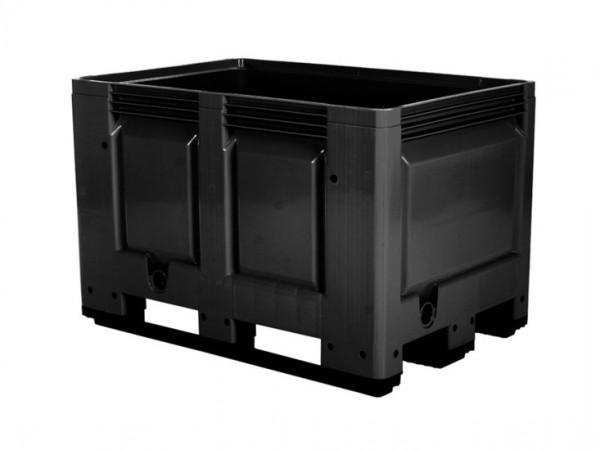 Kunststof palletbox - 1200x800xH790mm - 3 sledes - zwart
