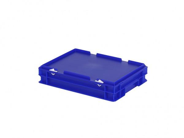 Stapelbak met deksel - 400x300xH90mm - blauw