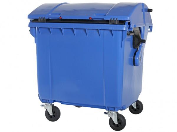 4-wiel afvalcontainer - 1100 liter - rond deksel - blauw