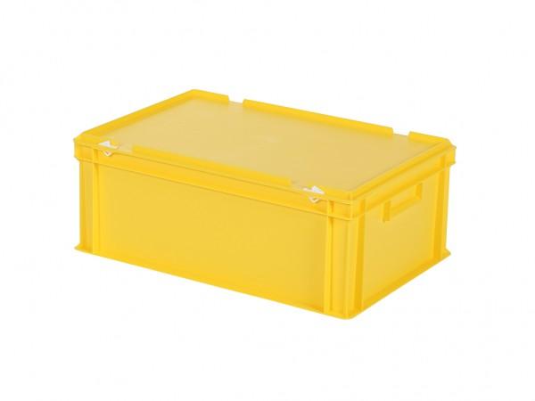 Stapelbak met deksel - 600x400xH235mm - geel