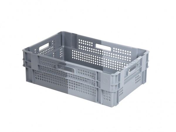 Stapel-nestbare krat - 600x400xH190mm - grijs/donkergrijs