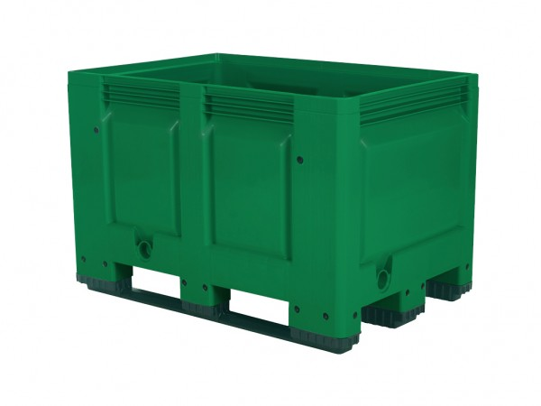 Kunststof palletbox - 1200x800xH790mm - 3 sledes - groen