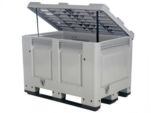 Palletbox met deksel - 1200 x 800mm - op sledes - grijs