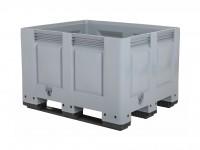 Kunststof palletbox - 1200x1000xH790mm - 3 sledes - grijs