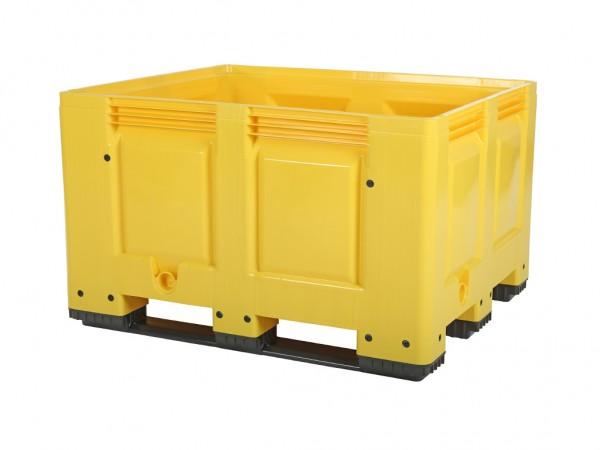 Kunststof palletbox - 1200x1000xH790mm - 3 sledes - geel