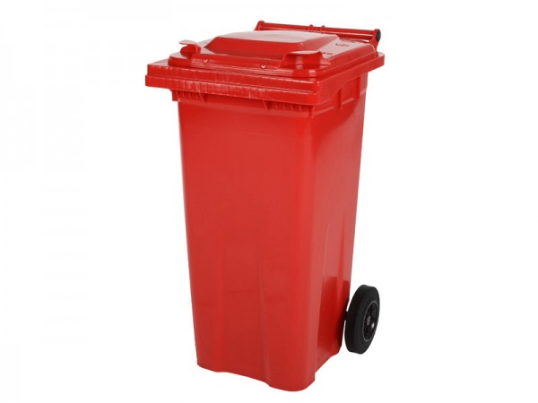 2-wiel afvalcontainer - 120 liter - rood