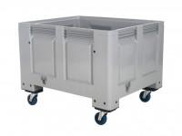 Kunststof palletbox - 1200x1000xH915mm - op wielen - grijs 4401.105.554