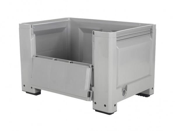 Palletbox - 1200x800mm - met klep - op 4 poten - grijs