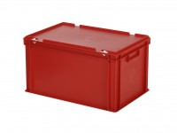 Stapelbak met deksel - 600x400xH335mm - rood 30.632.DB.4