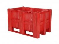 Kunststof palletbox - 1200x800xH740mm - 3 sledes - rood 83381910