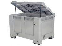 Strooizoutbak kunststof palletbox - 1200 x 800 mm - met deksel - op 4 poten 4403.118.554