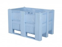 Kunststof palletbox - 1200x800xH740mm - 3 sledes - lichtblauw 83381300
