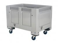 Kunststof palletbox - 1200x800xH915mm - op wielen - grijs 4403.105.554