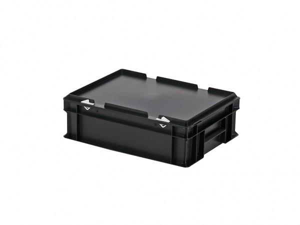 Stapelbak met deksel - 400x300xH133mm - zwart