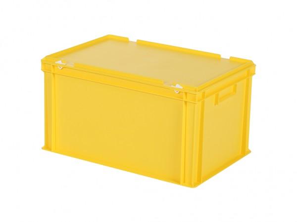 Stapelbak met deksel - 600x400xH335mm - geel