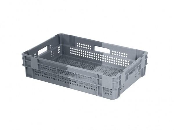 Stapel-nestbare krat - 600x400xH144mm - grijs/donkergrijs