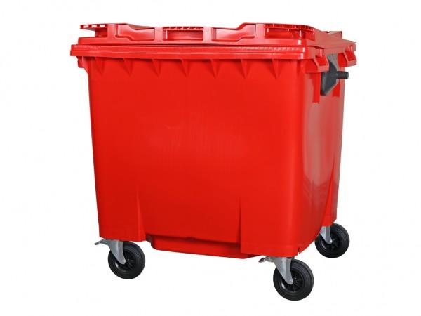 4-wiel afvalcontainer - 1100 liter - vlak deksel - rood