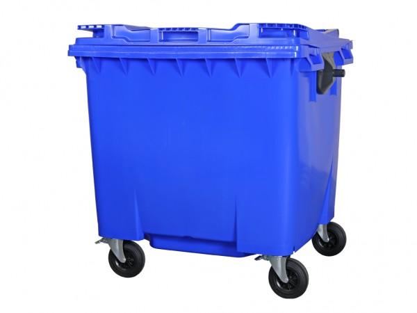 4-wiel afvalcontainer - 1100 liter - vlak deksel - blauw