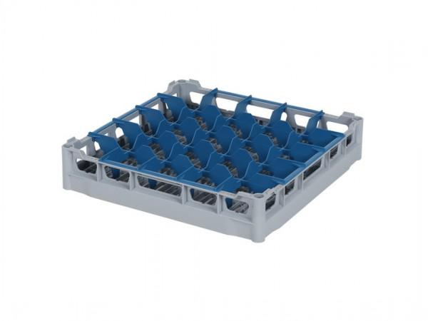 Glazenkorf 500x500mm - glashoogte max. 72 mm - met vakverdeling - grijs