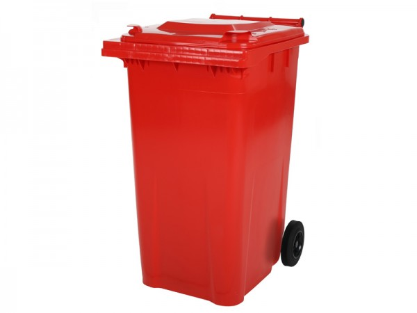 2-wiel afvalcontainer - 240 liter - rood