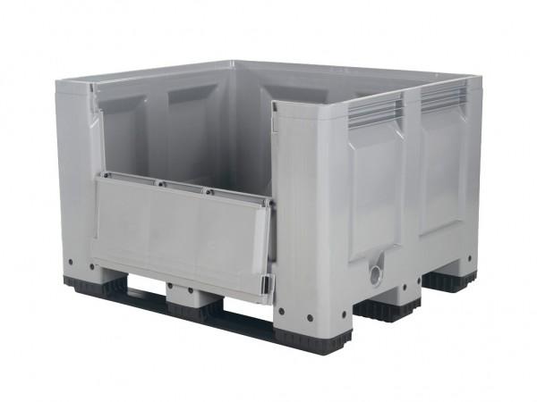 Palletbox - 1200x1000mm - op 3 sledes - met klep - grijs