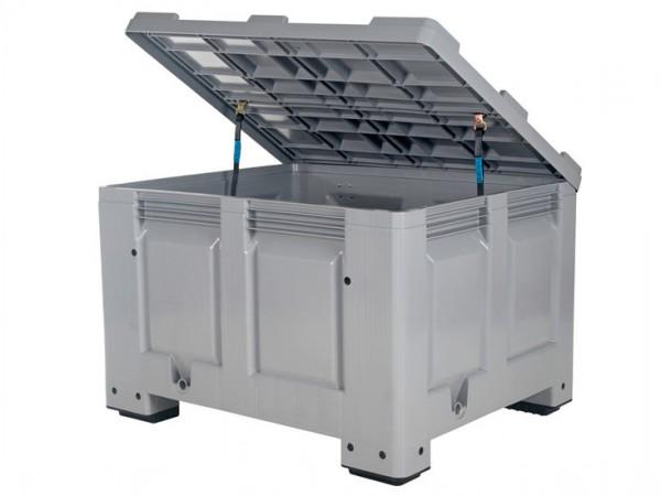 Strooizoutbak kunststof palletbox - 1200x1000xH800mm - met deksel - op 4 poten