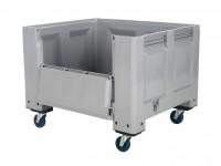 Kunststof palletbox - 1200x1000xH915mm - met klep - op wielen - grijs