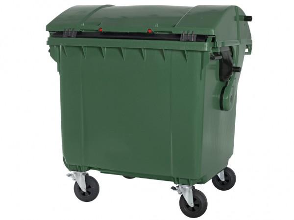 4-wiel afvalcontainer - 1100 liter - rond deksel - groen