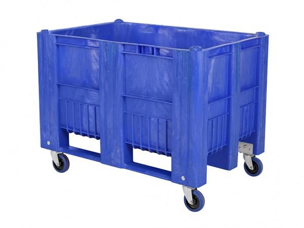Palletbox - 1200x800mm - op 4 wielen - blauw
