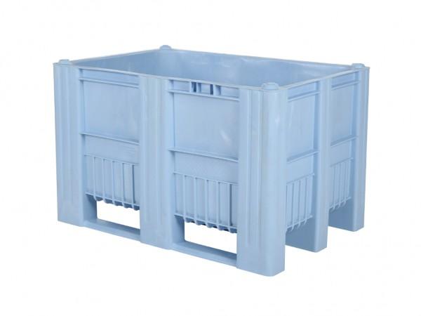 Kunststof palletbox - 1200x800xH740mm - 3 sledes - lichtblauw