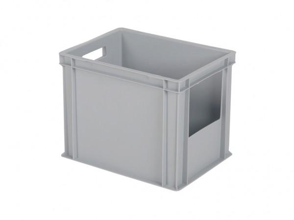 Stapelbak met grijpopening - 400x300xH320mm - grijs - korte zijde