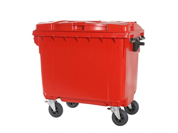 4-wiel afvalcontainer - 660 liter - rood