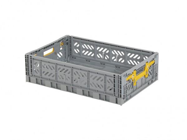 MULTIWAY klapkrat - 600x400xH156mm - grijs - gele grepen