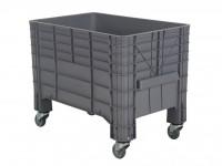 Kunststof palletbox - 1040x640xH668mm - met vier zwenkwielen - grijs 72.G3MINI.67.0.GR