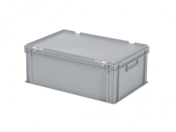 Stapelbak met deksel - 600x400xH235mm - grijs
