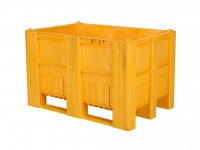 Kunststof palletbox - 1200x800xH740mm - 3 sledes - geel 83381410