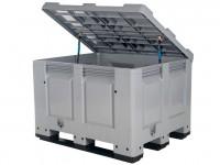 Strooizoutbak kunststof palletbox - 1200x1000xH830mm - met deksel - op sledes 4401.318.554