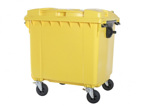 4-wiel afvalcontainer - 1100 liter - vlak deksel - geel