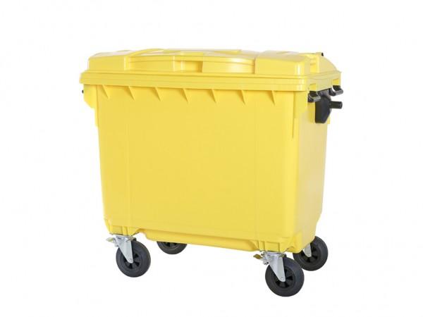 4-wiel afvalcontainer - 660 liter - geel