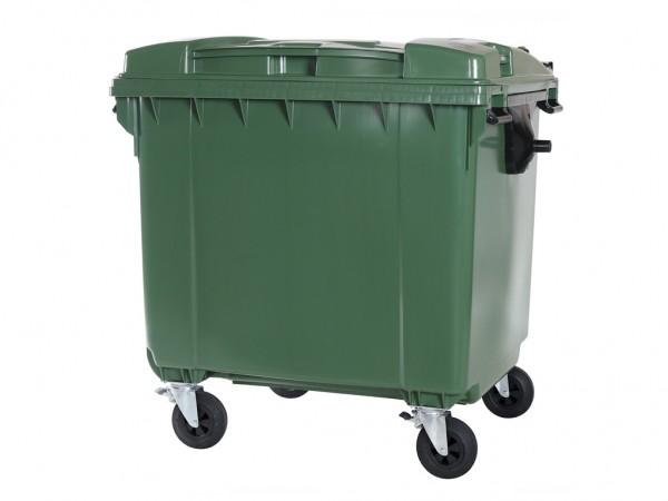 4-wiel afvalcontainer - 1100 liter - vlak deksel - groen