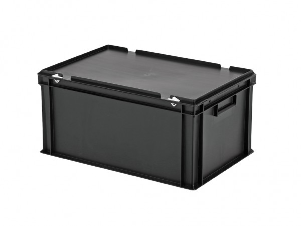 Stapelbak met deksel - 600x400xH295mm - zwart