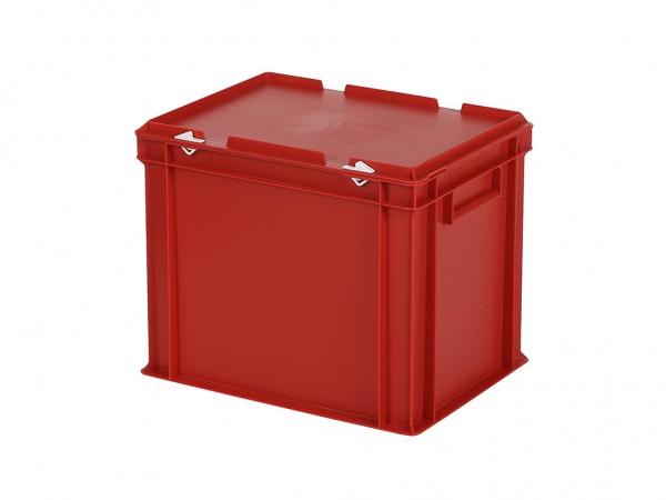 Stapelbak met deksel - 400x300xH335mm - rood
